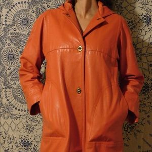 Vintage Poppy Colored Leather Jacket with Hood
